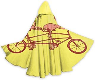 Adult Cape Cloak Pink Flamingos On Tandem Bike Unisex Cloak with Hood Cape for Halloween Christmas Party Cosplay Costumes
