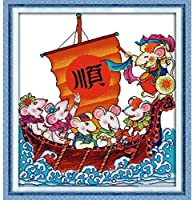 クロスステッチ刺繡スターターキット刻印クロスステッチキット11ct自由に帆走16x20インチ初心者大人DIY刺繡クロスステッチ用品針仕事家の装飾