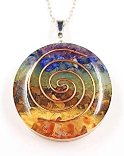 PSEEHEE Orgone Round Chakra Healing Crystals Pendant Necklace, 7 Chakra Stones Necklace for EMF Protection Spiritual Heali...