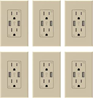 ELEGRP USB Charger Wall Outlet, Dual High Speed 3.6 Amp USB Ports, 15 Amp Duplex Tamper Resistant Receptacle Plug NEMA 5-15R, Wall Plate Included, UL Listed (6 Pack, Light Almond)