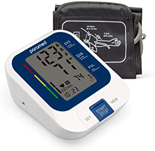 """PARAMED Blood Pressure Monitor: Automatic Upper Arm BP Monitor with Cuff 8.7""""-15.7"""" - Digital BP Machine & Irregular Heartbeat Detection, 120 Readings Memory - Large LCD - Batteries & Pouch Included"""