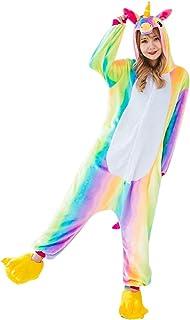 876a08a7c0598 Runfon Unisexe Licorne Pyjama Animation vêtements Cosplay Animal  Combinaison Costume Grenouillère à Capuche Halloween Costume Soirée