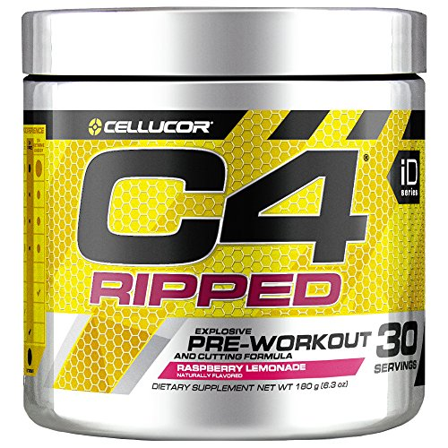 C4 Ripped Pre Workout Powder Raspberry Lemonade, Creatine Free + Sugar Free Preworkout Energy Supplement for Men & Women, 150mg Caffeine + Beta Alanine + Weight Loss, 30 Servings, 6.34 Ounce