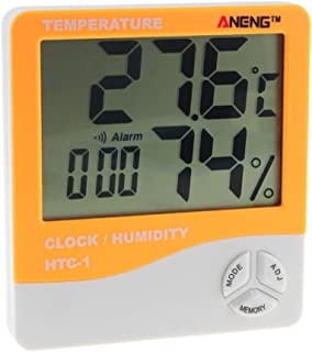 Foreverharbor HTC-1 Indoor LCD Electronic Digital Temperature Humidity Meter Room Thermometer Hygrometer Alarm Clock Weather Station