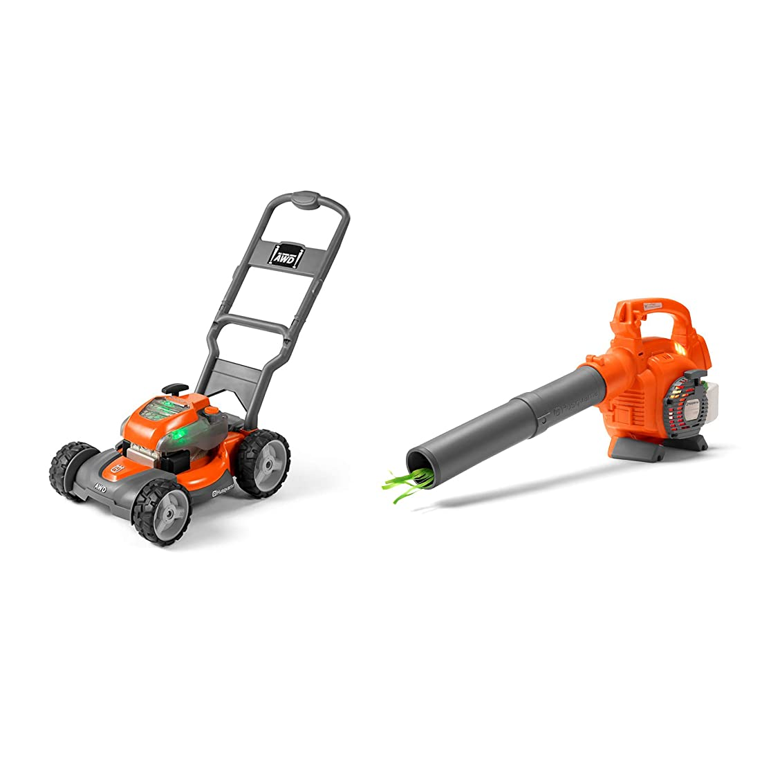 Husqvarna Battery Powered Kids Toy Lawn Mower + Toy Leaf Blower with Sounds hfphewit0