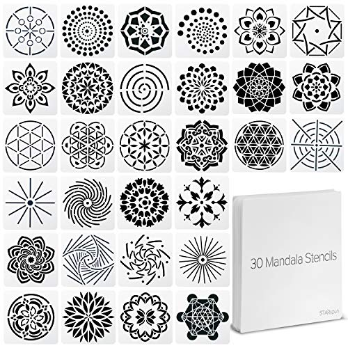 STARspun Art Stencils for Painting - 30 Piece Mandala Stencil Set 4x4' in Size - Great as Wall Stencil, Tile Stencil, Floor Stencil, Stencils for Painting on Canvas, Airbrush Stencils and More