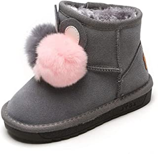 Daclay Kids Boots Cute Girls Snow Boots Leather Children's Shoes Winter Warm Children's Cotton Shoes
