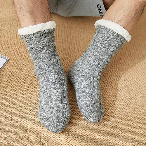 ZapatillascasaZapatillas De Interior para Hombre Calcetines con Cálidos Zapatos De Felpa para El Dormitorio Cómodas Zapatillas De Casa Antideslizantes para Hombres ZAPA