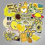 50 unidades amarillas pequeñas y frescas maletas trolley caso portátil graffiti pegatinas serie dibujos animados impermeables