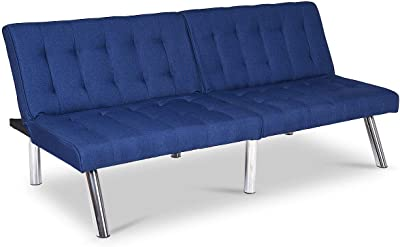 Giantex Futon Sofa Bed Convertible Couch Folding Splitback Recliner Sleeper Lounger Modern PU Leather with Chrome Legs (Navy)