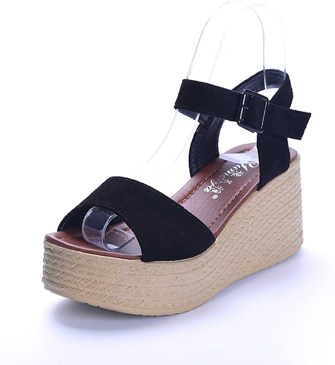 Rainbow high heels High-Heeled shoes for Women - Rainbow 2018 New, 7.5cm Wedge Sandals Women's Buckles with Platform shoes