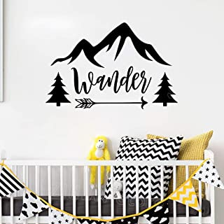 Biesoa DIY Removable Vinyl Decal Mural Letter Wall Sticker Wanderlust for Kids Rooms Travel Quotes Arrow Tree Mountain Children's Decoration Wander