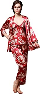 Estilo Chino, Suave, Cuello en V, Manga Larga, Estampado de dragón, 3 uds, Pantalones de Pijama y Camisola, Conjunto de Ropa de Dormir para Mujer