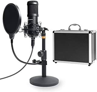 میکروفون رایانه ای USB Streaming Podcast با جعبه ذخیره سازی آلومینیوم ، SUDOTACK Professional 96KHZ / 24Bit Studio Cardioid Condenser Card Kit with Sound Card Desktop Stand Shock Mount for Skype Youtuber Gaming