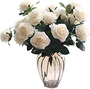 LNHOMY Artificial Flowers French Rose Vantage Fake Silk Rose Flowers with Leaf and for Home Wedding Party Garden Hotel Decor, (Beige)