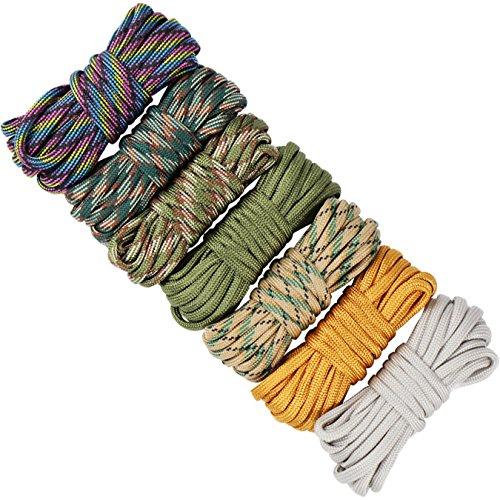 7 Piezas Cuerda Paracord Set Ideal para el aire libre, camping, trenzar pulseras y Llavero