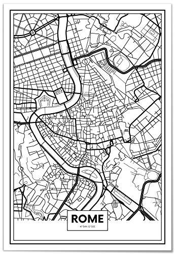 Panorama Poster Stampe da Parete Mappa di Roma 50x70 cm - Stampato su Carta 250gr Alta qualità - Quadri Moderni Soggiorno - Stampe da Parete Moderne per Incorniciare - Decorazione Parete