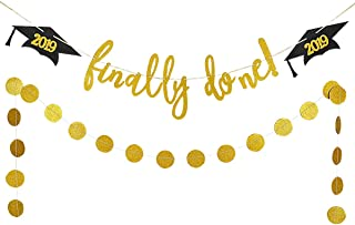 Gold Glittery Finally Done Graduation Cap Banner and Gold Glittery Circle Dots Garland- Graduation Party Decoration Supplies