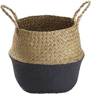 Xiton Seagrass Panier De Fleurs Panier Tressé Panier De Rangement Osier Cache-Pot Pliable Pot De Fleurs Organisateur pour ...