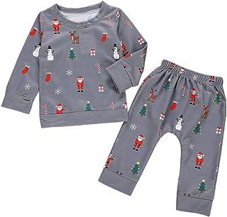 URMAGIC Baby Boys Christmas Outfits, Infant Boys Cartoon Santa Claus Print Long Sleeve Pajamas Tops +Pants Winter Clothes Sets