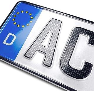 schildEVO 1 Carbon Kfz Kennzeichen | 460 x 110 mm | OFFIZIELL amtliche Nummernschilder | DIN Zertifiziert – EU Wunschkennzeichen mit individueller Prägung | Autokennzeichen