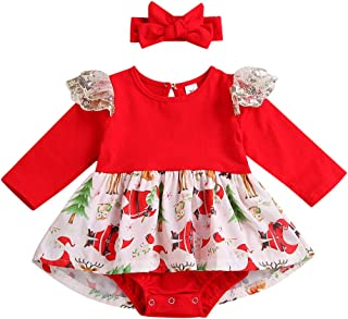 Baby Christmas Outfits Infant Girls Long Sleeve Santa Claus Bodysuit Romper Tutu Dress with Headband Set