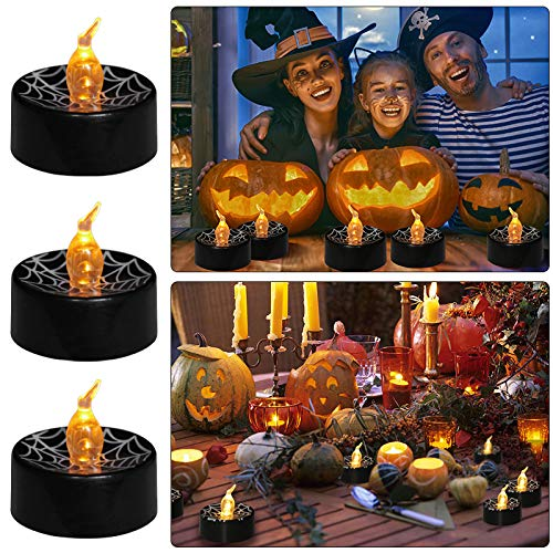 Boatee Halloween Tea Lights Flameless LED Candles Flicker Electric Candles Lights for Pumpkin Yard Decorations Halloween Party Decor