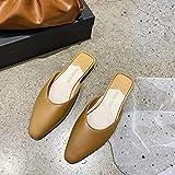 YYFF Chanclas para Adulto Mujeres,Baotou Piatto con trascinamento Della Sabbia,pantofole Alla Moda Casual-Khaki_40,Zapatillas de Casa