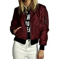 Women Jacket ! Auwer Womens... Women Jacket ! Auwer Womens Classic Bomber Jacket Ladies Vintage Zip up Biker Coat Stylish