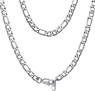 3-13mm Figaro Chain Necklace Stainless Steel/18K Gold Plated Figaro Link Chain for Men Women, 18