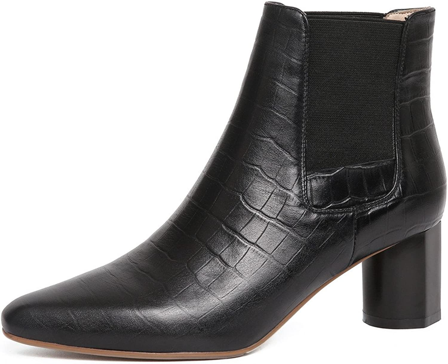 Nine Seven Genuine Leather Women's Pointed Toe Chunky Heel Handmade Stone Pattern Ankle Boots