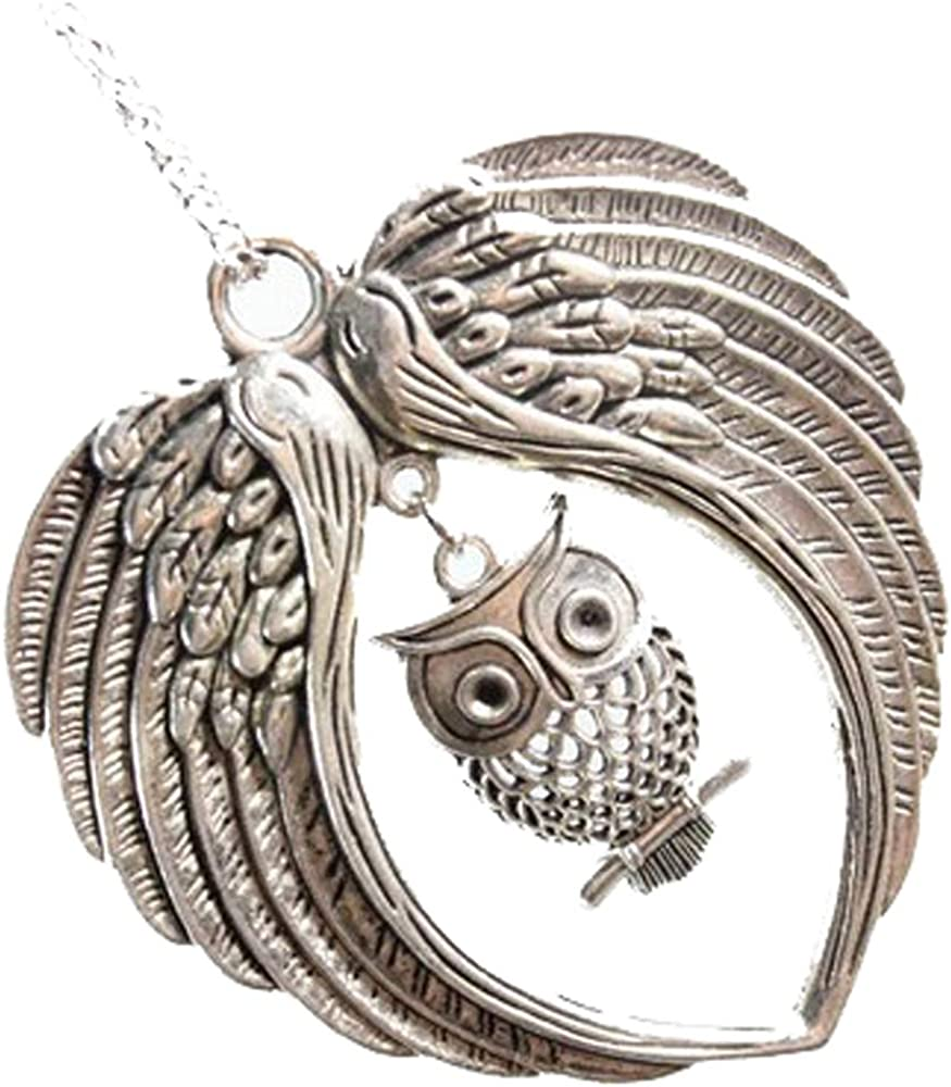 Silver Double Angel Wings Floating Owl Charms Sale Special Price Max 72% OFF Origami Locke Fits