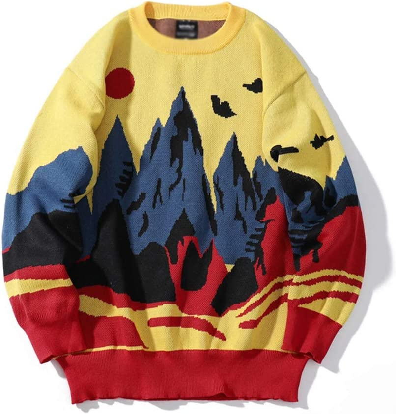 XJJZS Winter Knitwear Mens Sweaters Harajuku Hip Hop Landscape Painting Fashion Casual Male Pullovers Outwear Streetwear Jumper (Color : Yellow, Size : M-length-68CM)