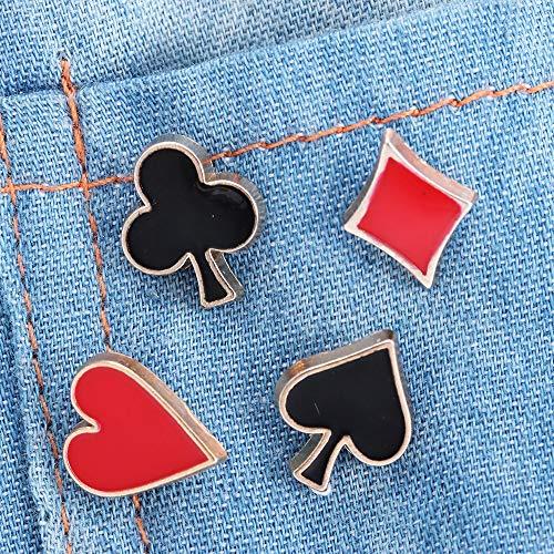 4 unids/set popular pequeño poker gemelos y broches para las mujeres hombres aleación de zinc broche broche insignias camisa collar accesorios