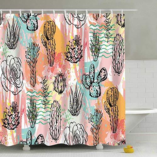 LEELFD Grüne Topfpflanzen Duschvorhang für Badezimmer Wasserdichter Druck Kaktus Sukkulenten Badevorhang mit 12 Haken Schimmelschutz 180X180CM H.