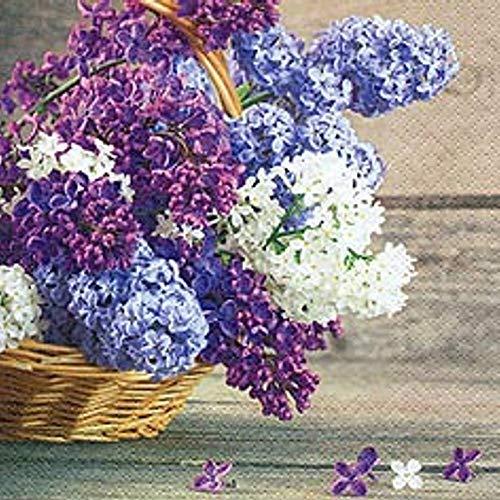 G5562:20 servetten lente, Hyacint in mandje, paarse bloem mand 33x33 Cm