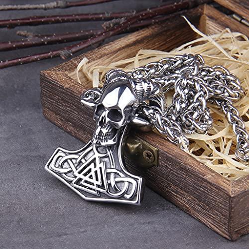 YABEME Collar con Colgante de Cabeza de Cabra de Carnero de Adoración de Satanás Vikingo, Acero Inoxidable para Hombres Nórdicos, Martillo de Thors