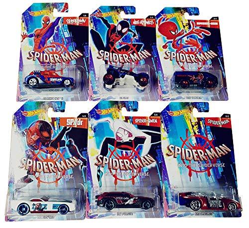 Spider-Man Hot-Wheels Into The Spider-Verse Vehículos en un Juego Genial de 6, para Que los niños jueguen y coleccionen