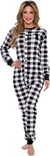 Oh Deer Buffalo Flannel One Piece Pajamas - Women's Union Suit Pajamas with Drop Seat Butt Flap