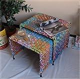 2 Satz Tisch Beistelltisch im Materialmix Stoff und Metall