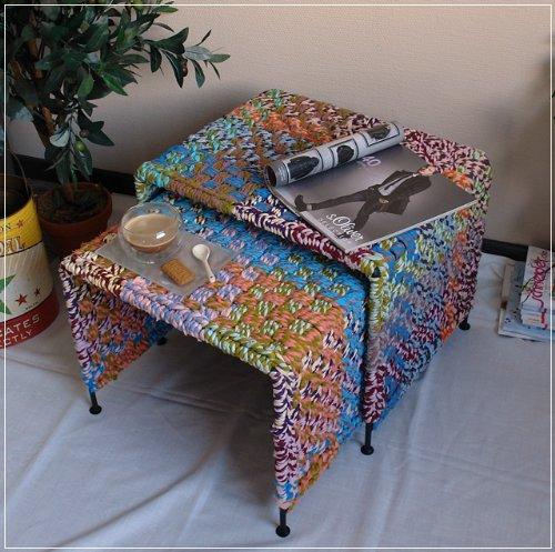 Unbekannt 2 Satz Tisch Beistelltisch im Materialmix Stoff und Metall