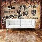 Papel pintado de peluquería personalizado Retro nostálgico estilo nórdico pintura de pared de ladrillo salón de belleza salón de belleza papel tapiz de fondo para salón de belleza-300cmx210cm