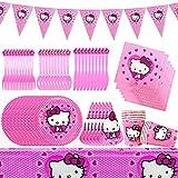 78 piezas Suministros de fiesta de Hello Kitty Vajilla Cumpleaños Decoraciones Fiesta Infantil Accesorios Biodegradables Vajilla Desechable Cumpleaños Platos para niños cumpleaños - Sirve 10 Invitados
