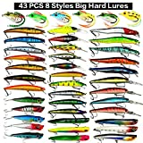 XBLACK Hard Fishing Lure Set Assorted Bass Soft Fishing Lure Kit Colorful Minnow Popper Crank Rattlin VIB Jointed Fishing Lure Set Hard Crankbait Tackle Pack Saltwater Freshwater (43 pcs)