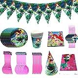 XXZY 88 Pcs Artículos para fiestas, juego de vajilla desechable, juego de vajilla para fiesta de sirena, decoración de cumpleaños para niñas,incluye vasos de papel,mantel y otros para fiestas