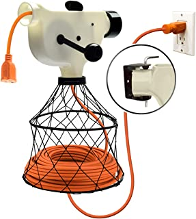 Extension Cord Reel Winder with 2 Fixed and 1 Swivel Wall Mount Brackets, Transportable from Wall to Wall