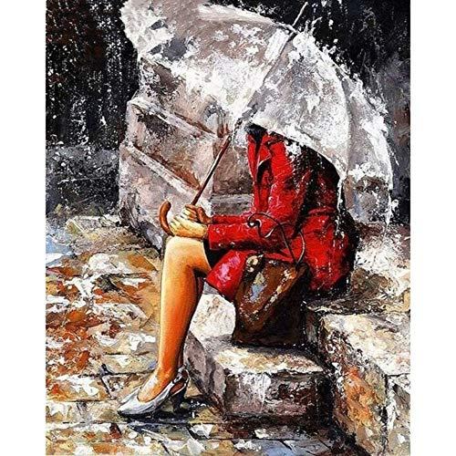 Ingelijst materiaal voor meisjes onder de paraplu om zelf te maken, motief: schilderij op canvas, handbeschilderd, zonder lijst 40 x 50 cm, het geschenk van moeder (16 x 20 inch) Geen frame.