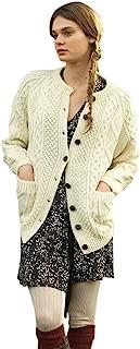 Hand Knit Ladies Irish Aran Long Cardigan Sweater