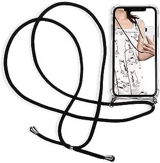 Sunger Handykette Outdoor Kompatibel für iPhone X Hülle iPhone XS Hülle Silikon Durchsichtig Schutzhülle Crystal Clear Case Anti Lost Schale mit Halskette Schlüsselband Silikonhülle, Schwarz