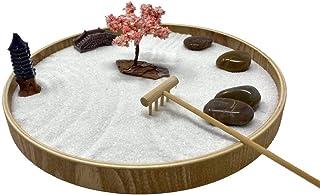 Desk Zen Garden – Office Garden – Mini Rock Garden with Sand – Wooden Base, Meditation Statue and Bamboo Rake – Peaceful J...